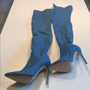 Liliana Gisele Denim Closed-Toe Boots